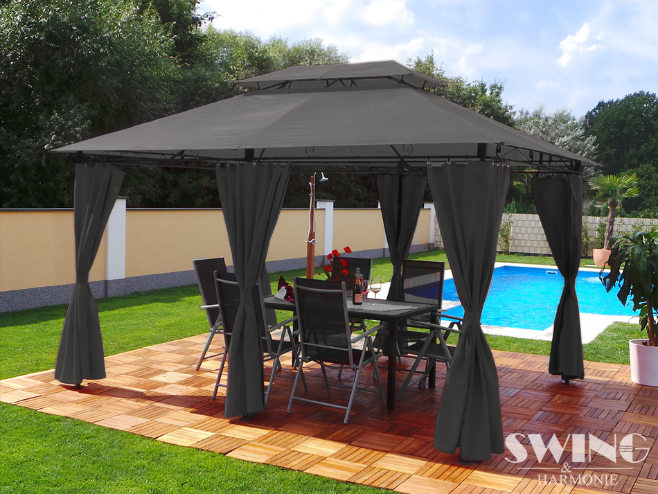 luxus pavillon 3x4m garten pavilon gartenm bel pavillion. Black Bedroom Furniture Sets. Home Design Ideas