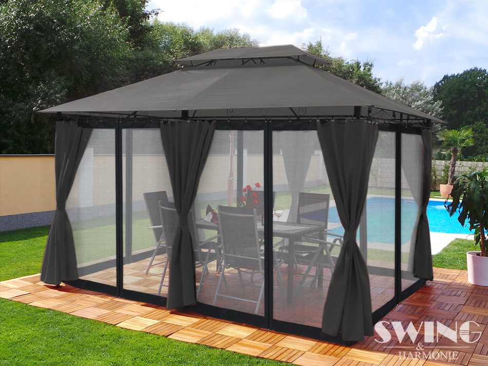 pavillon 3x4m garten pavilon pavillion partyzelt gartenzelt opt moskitonetz neu ebay. Black Bedroom Furniture Sets. Home Design Ideas