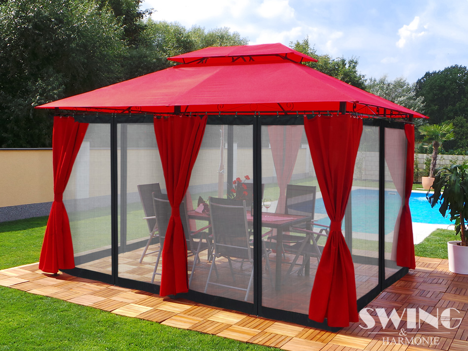 pavillon 3x4m garten pavilon pavillion partyzelt gartenzelt opt moskitonetz neu ebay. Black Bedroom Furniture Sets. Home Design Ideas
