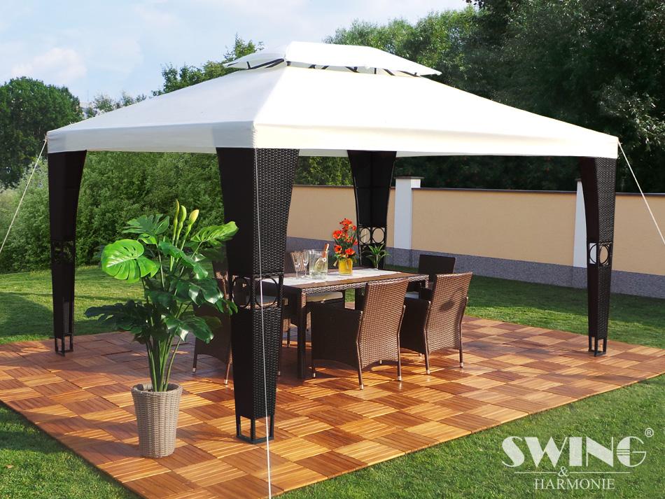 rattan pavillon 3x4m polyrattan garten pavilon gartenm bel. Black Bedroom Furniture Sets. Home Design Ideas